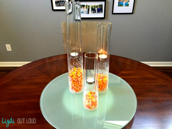 candy corn centerpiece, fall decor, candle holders, halloween decor