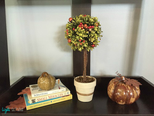 shelf decor, fall decor, boxwood topiary