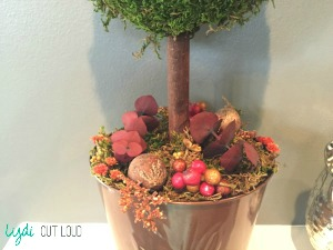 DIY moss topiary, Fall decor, mantle decor