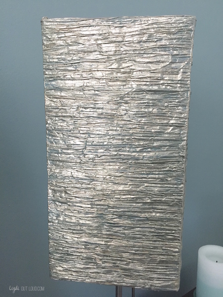 Ikea lamp shade makeover lydi out loud metallic painted lamp shade aloadofball Image collections