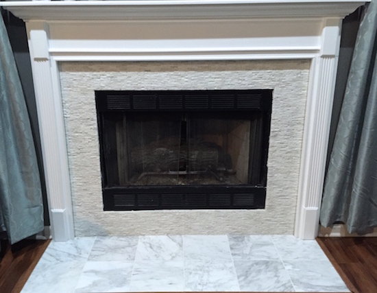 fireplace makeover, mantle decor, home decor, white fireplace, stacked tile
