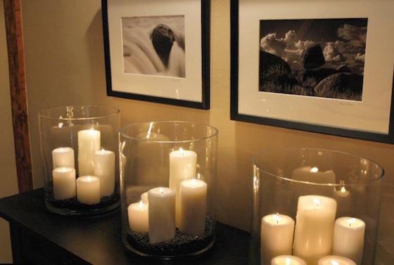 entryway table decor, sofa table decor, console table decor, home decor, hurricane vases