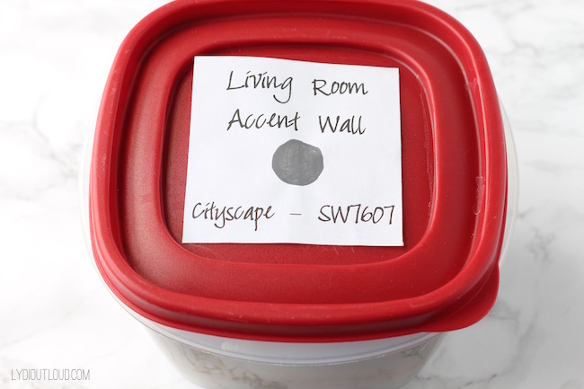 Label the paint can so you know what room and color it is. Brilliant!