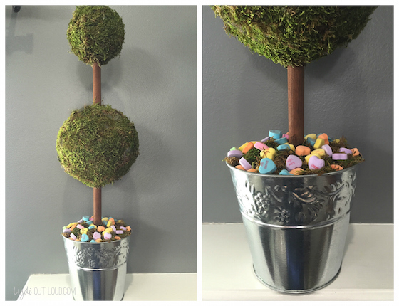 valentines day decor, valentines day decorations, moss topiaries, diy topiaries, valentines crafts