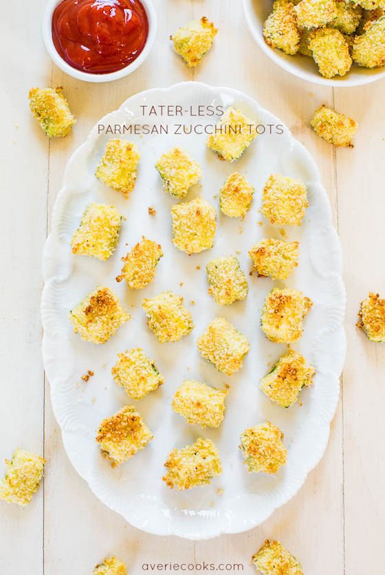 super bowl party food, tater tots, zucchini tots, averie cooks, healthy appetizers