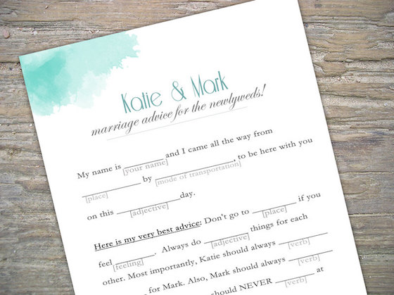 wedding ideas, mad libs, wedding planning, guest book ideas, wedding guest books