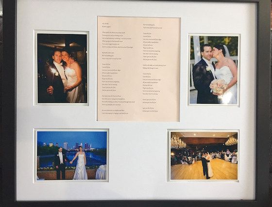 1 year Anniversary gift - wedding pics and 1st dance song lyrics