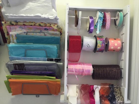 Ribbon and gift wrap organization