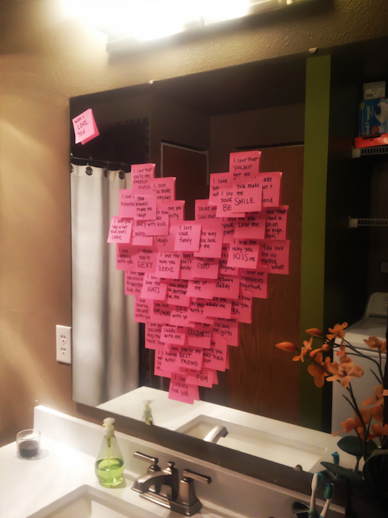 Post-It Heart on the mirror