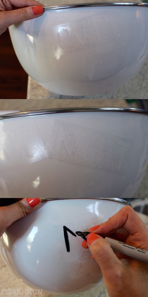 Large popcorn bowl with Silhouette stencil