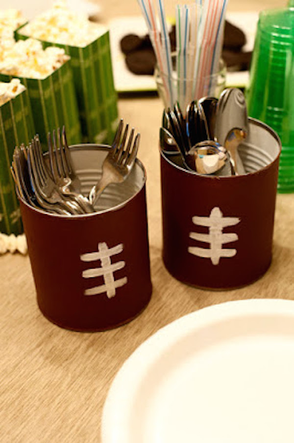 Football party silverware caddies