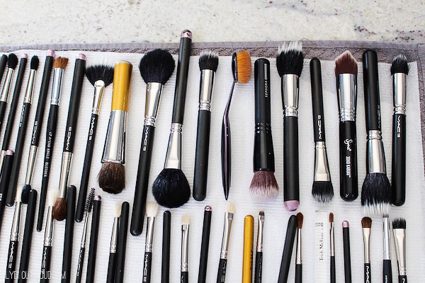 Lay makeup brushes flat to dry after washing