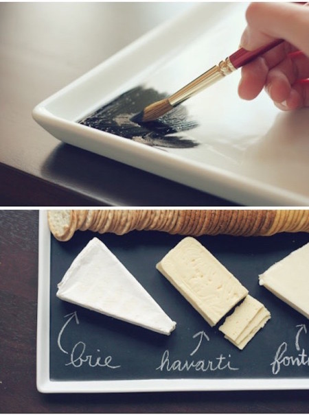 DIY chalkboard serving platter/cheese plate