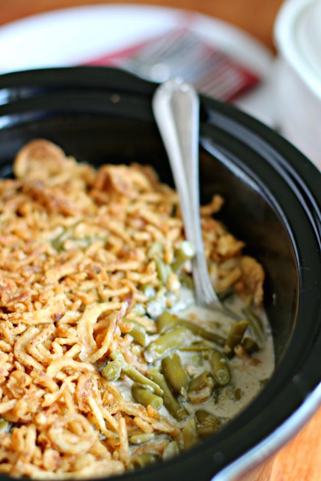 Crockpot Green Bean Casserole - perfect for Thanksgiving!
