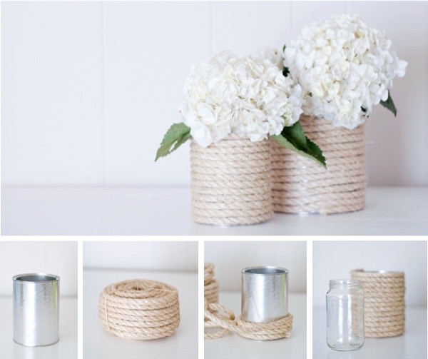 DIY Rope Vases - adorable!