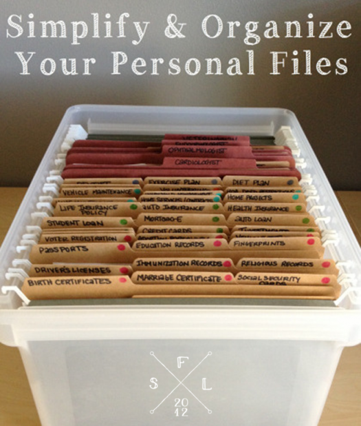 Simple personal file organization - I need to do this once and for all!