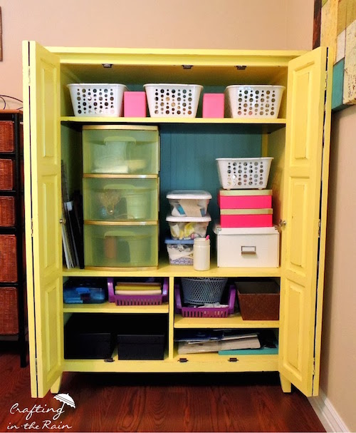 Turn an old entertainment center into craft room organization. Brilliant I need this!