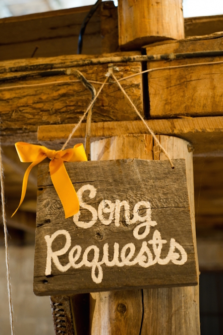 Have an area for song requests at an engagement party - what a fun idea!