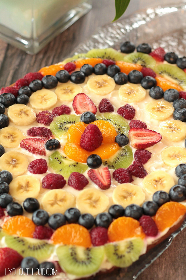 Football shaped fruit pizza