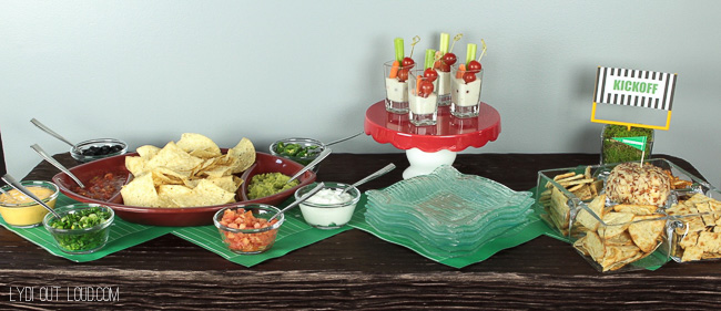 Super Bowl party appetizer bar