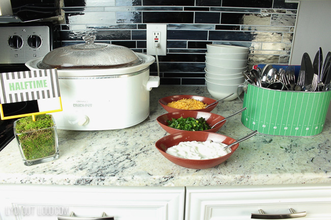 Super Bowl party chili station