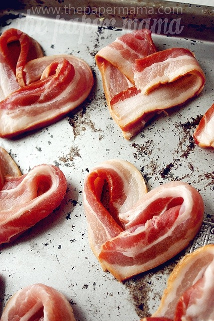 Bacon hearts - how cute for Valentine's Day breakfast in bed!