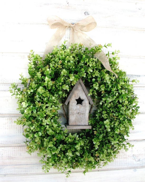 boxwood birdhouse wreath