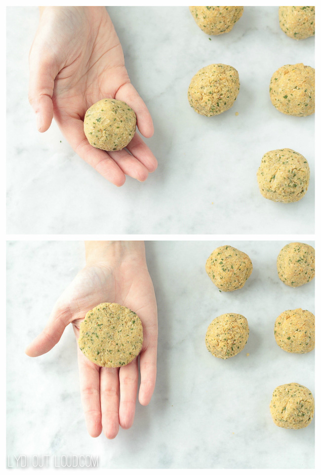 Form quinoa falafel cakes