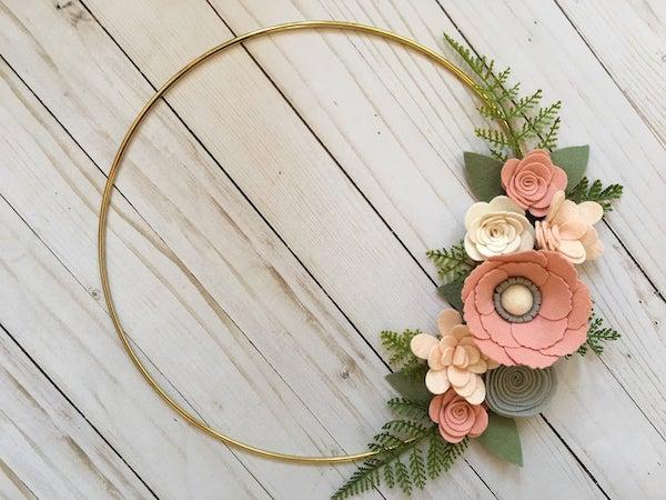 Felt Floral Spring Wreath