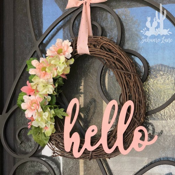 Floral Hello Spring Wreath