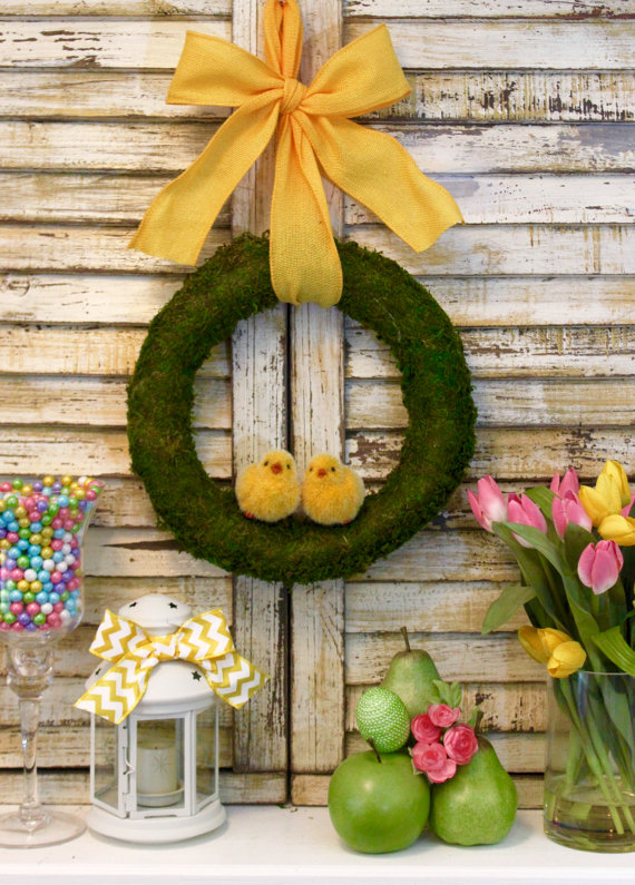 Easter Chicks Moss Spring Wreath