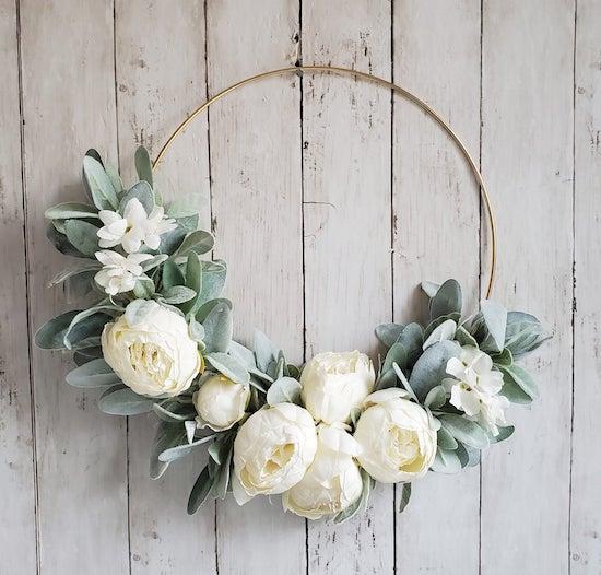 white peony hoop wreath