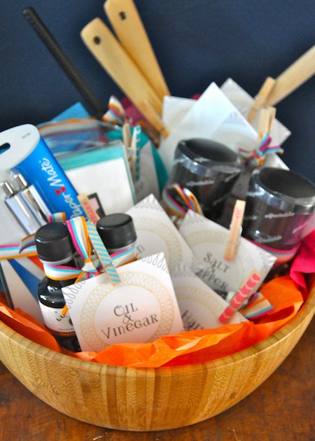 """Perfect Pairs"" gift basket - what a cute engagement gift or wedding gift!"