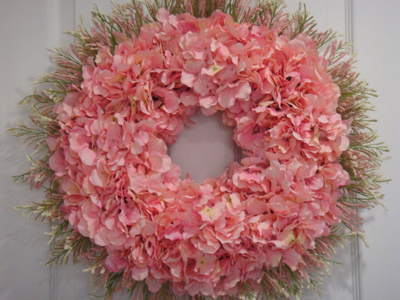 Pink Hydrangea Spring Cottage Wreath