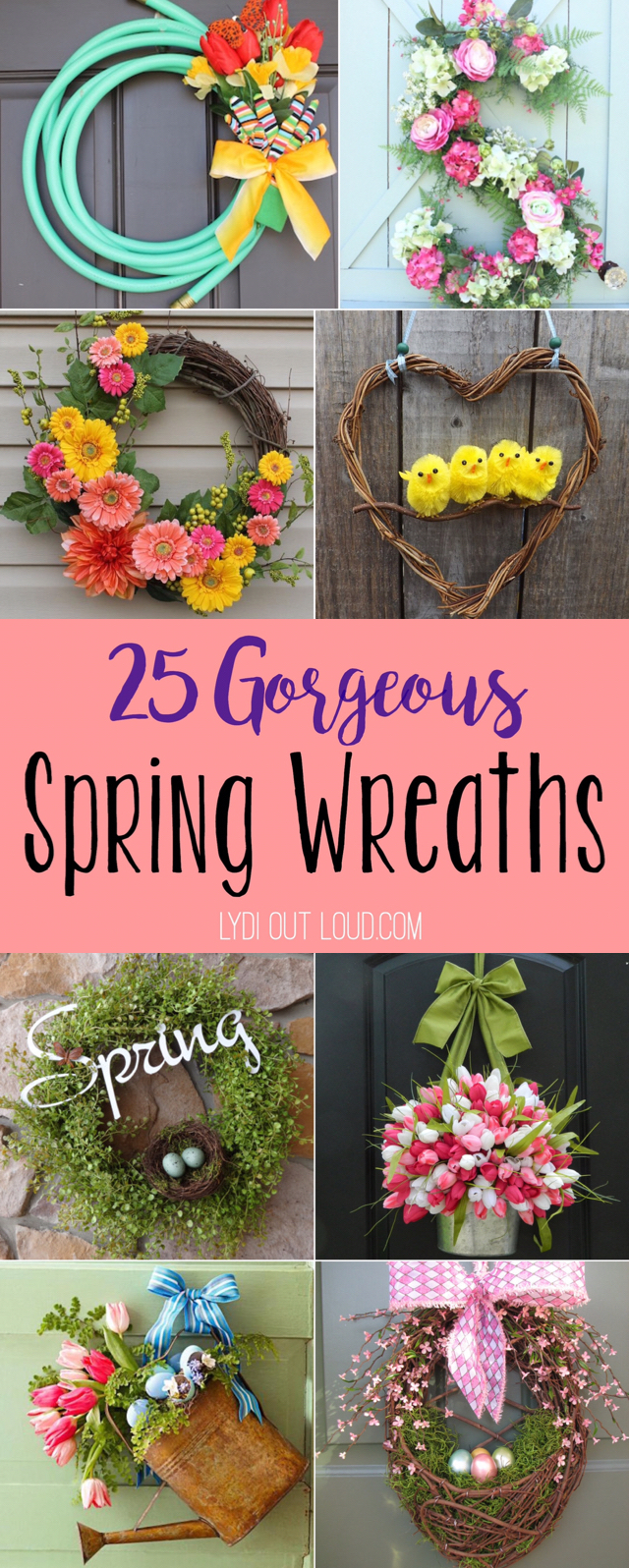 Beautiful spring wreaths and door hangers! via @lydioutloud
