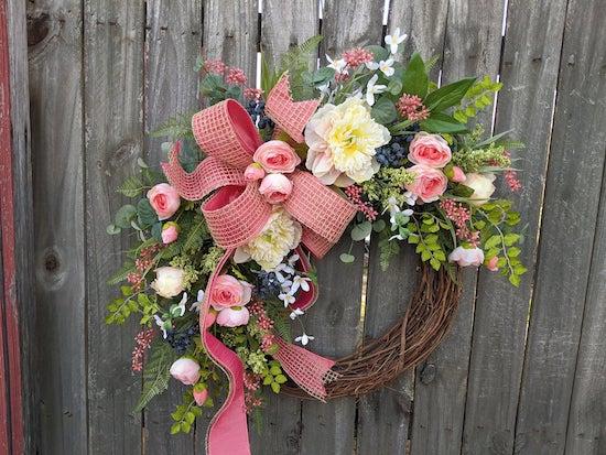 peony ranunculus wreath