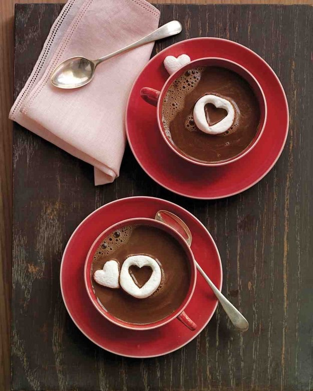 Hot Chocolate with heart shaped marshmallows - this would be so cute for Valentine's Day breakfast in bed!