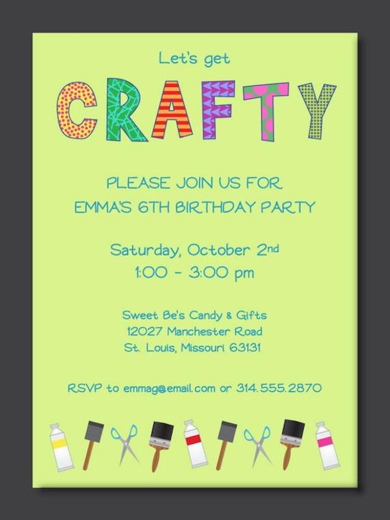 Crafty Bachelorette Party Theme Invitation