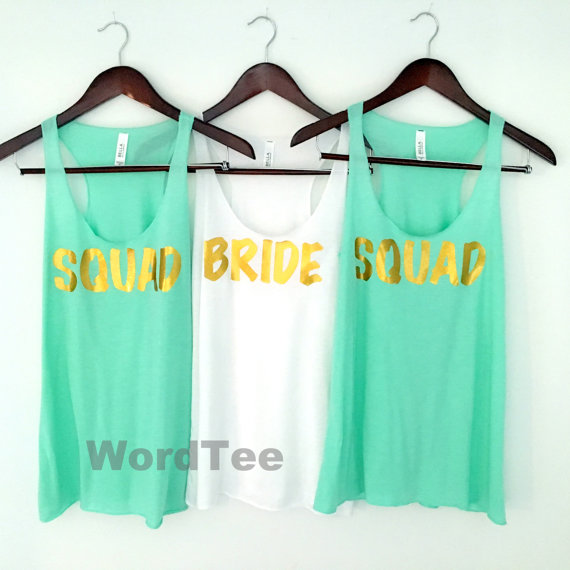 Bride and Squad tanks for Bachelorette slumber party