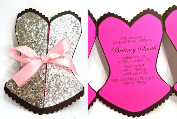 Bustier Bachelorette Party Invitations Too Cute