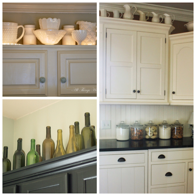 Display collections on top of cabinets - what a fun idea!