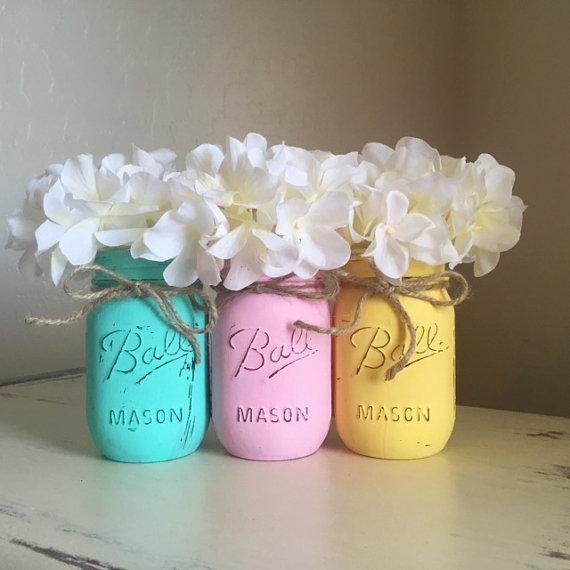 Easter mason jar flower vases
