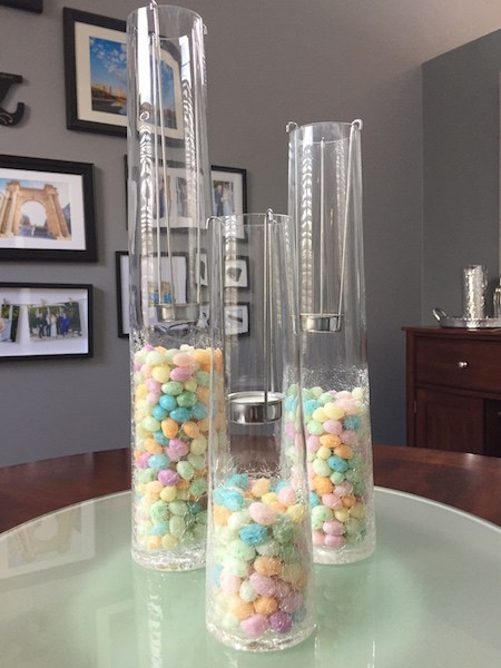 Fill candleholders with jelly beans for an Easter centerpiece!