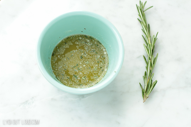 Butter and chopped rosemary mixture for Homemade Rosemary Croutons