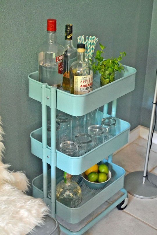 Love this bar cart - its from IKEA I can't believe it!