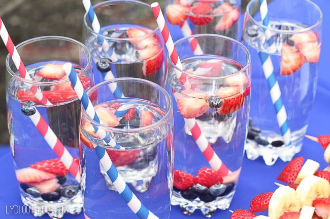 Berry infused waters - perfect for a Memorial Day party!