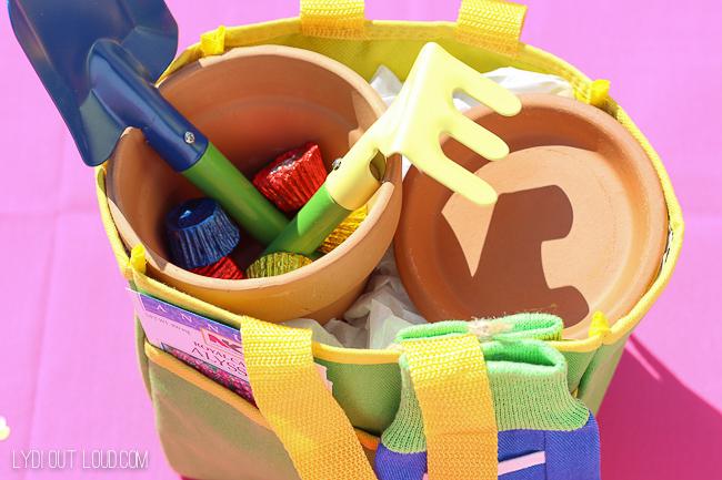 Kids garden totes and garden tools - so cute for a kids garden birthday party!