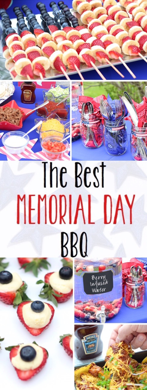 Memorial Day BBQ Ideas for delicious food and fun, patriotic decorations!