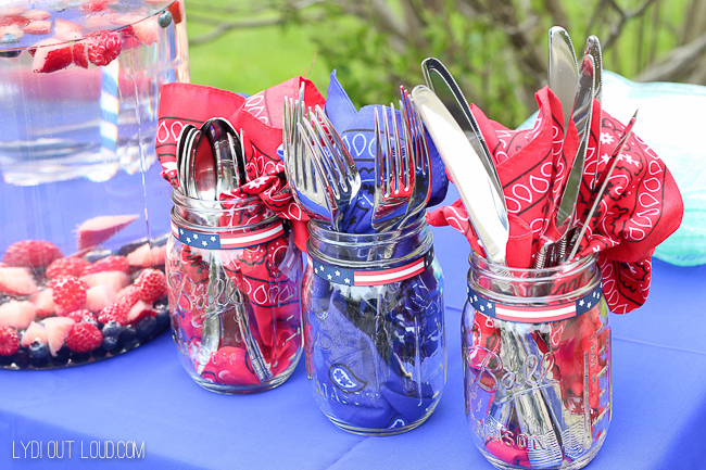 Memorial Day Party silverware caddies