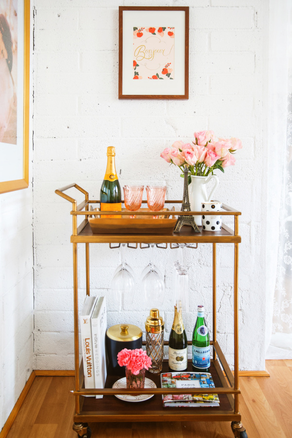 Such a beautiful bar cart - love the decor!